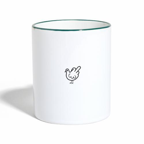 Huhn mit Mittelfinger - Tasse zweifarbig
