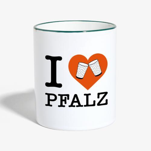 I love Pfalz – Dubbeglas - Tasse zweifarbig