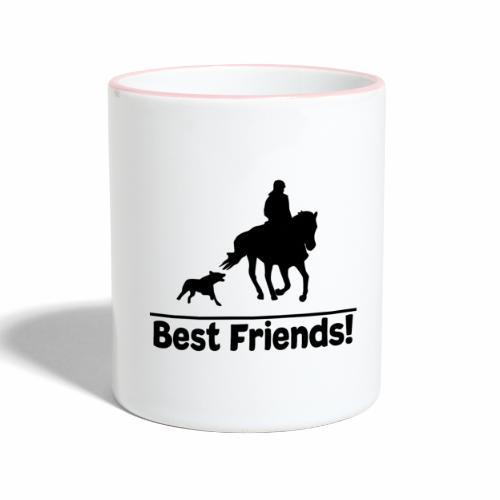 Reiten mit Hund T-Shirt Beste Freunde Pferd-Hund - Tasse zweifarbig