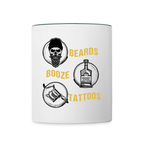 Beards Booze Tattoos Fathers Day Gift - Tasse zweifarbig