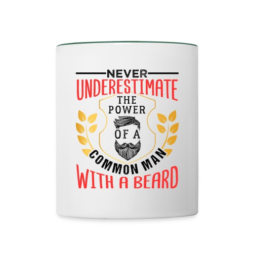 The Power Of A Common Man With A Beard Funny Gifta - Tasse zweifarbig
