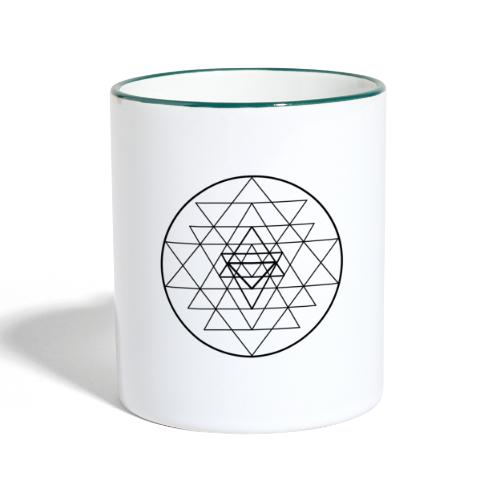 Sri Yantra - black and white - Tofarvet krus