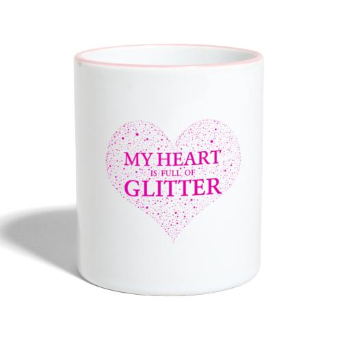 Herz Glitzer - Tasse zweifarbig