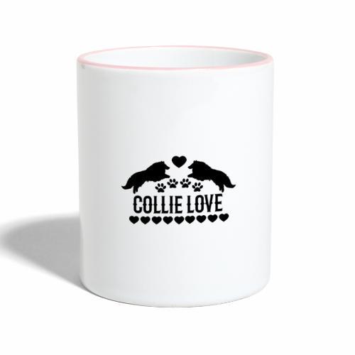 Collie Liebe Hundedesign - Tasse zweifarbig