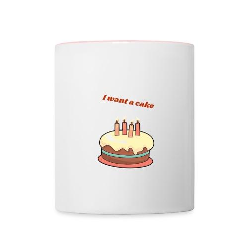 I want a cake - Tvåfärgad mugg