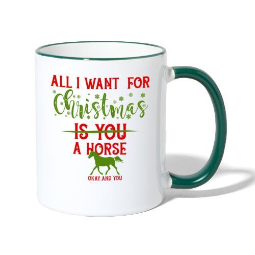 Weihnachts Wunschzettel - Pferd - Tasse zweifarbig