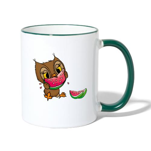Eule Wassermelone - Tasse zweifarbig