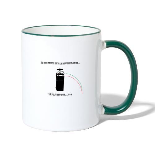 le fil rouge sur le bouton rouge - Mug contrasté