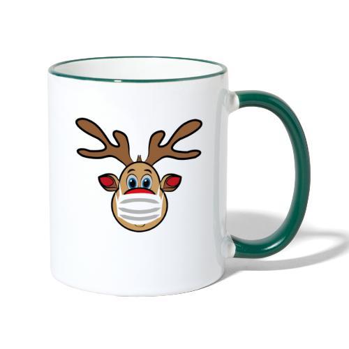Ugly Xmas Rudi Reindeer mit Maske - Tasse zweifarbig