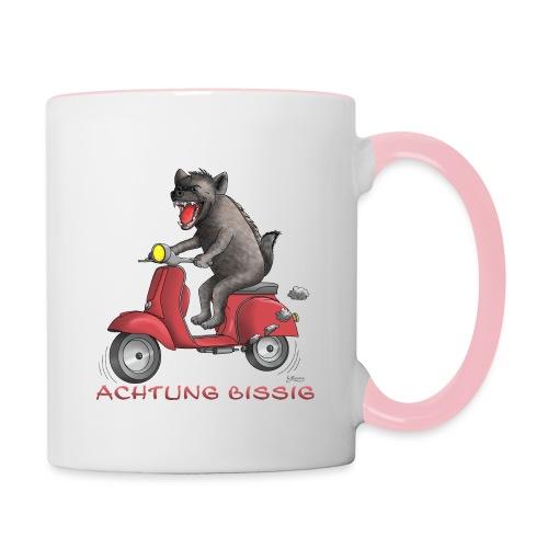 Hyäne - Achtung bissig - Tasse zweifarbig