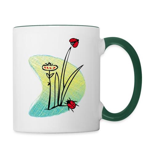 Marienkäfer, Schmetterling - Tasse zweifarbig