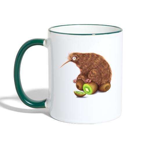 Kiwi auf Kiwis - Tasse zweifarbig