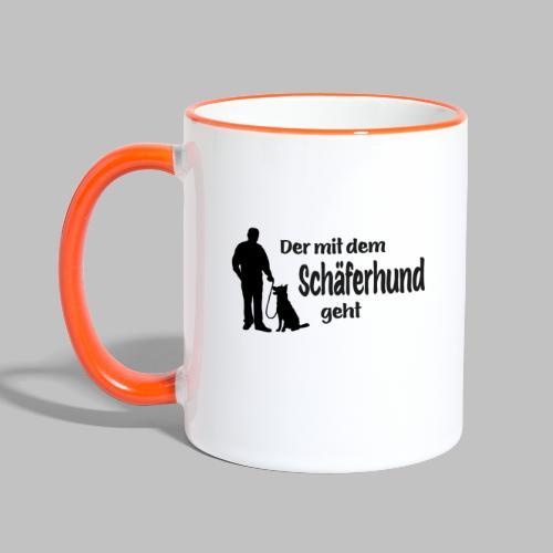 Der mit dem Schäferhund geht - Black Edition - Tasse zweifarbig
