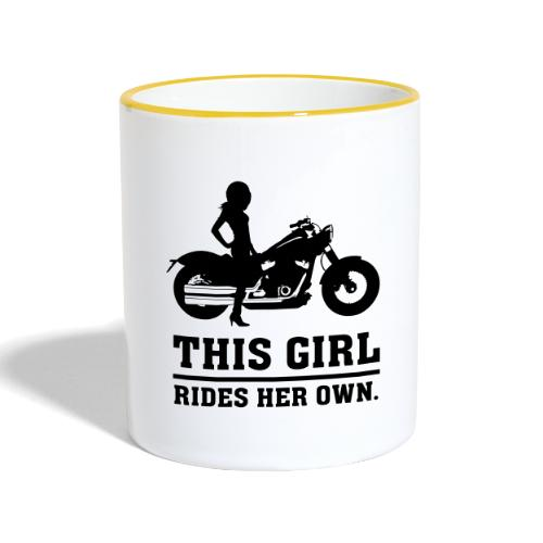 This Girl rides her own - Custom bike - Kaksivärinen muki