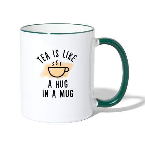 Tea is like a hug in a mug Aquarell - Tasse zweifarbig