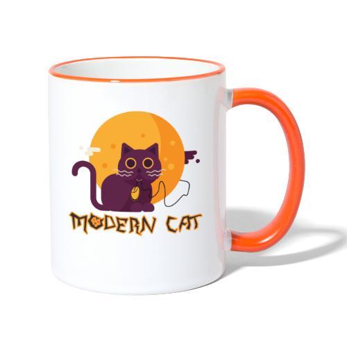 gatto moderno animale topo luna arte animale domestico - Tazze bicolor
