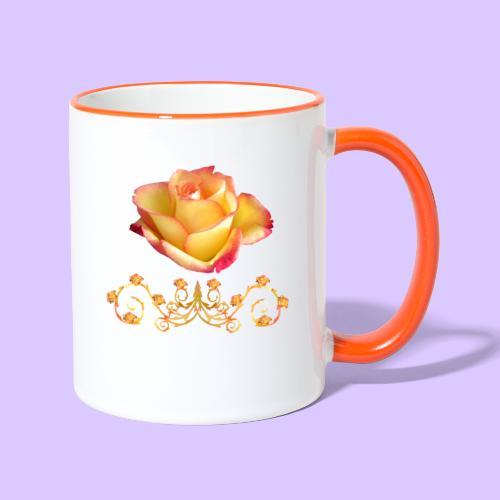 orange Rose, Ornament, Rosen, Blumen, Blüten, edel - Tasse zweifarbig