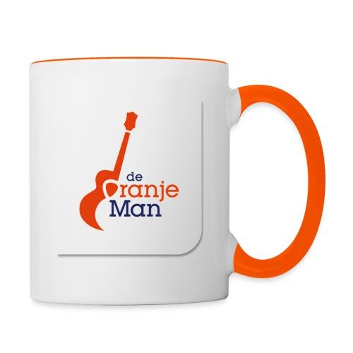 de oranje man logo groot op wit vlak - Mok tweekleurig
