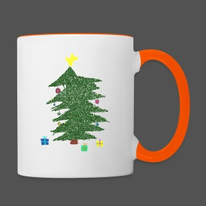 Christmas Kids-Drawing - Tasse zweifarbig