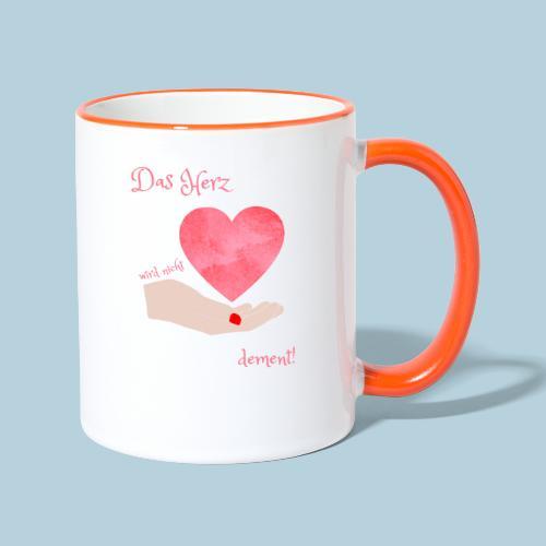 Das Herz wird nicht dement! Demenzbetreuung Pflege - Tasse zweifarbig