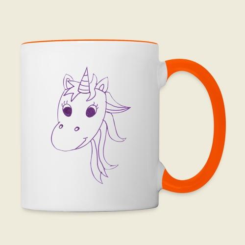 Einhorn Unicorna einfarbig weiß lila - Tasse zweifarbig