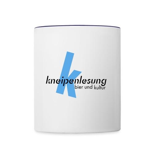 Kneipenlesung blaues K - Tasse zweifarbig