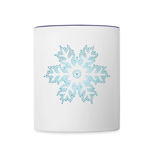 Schnee Stern, Weihnachten - Tasse zweifarbig