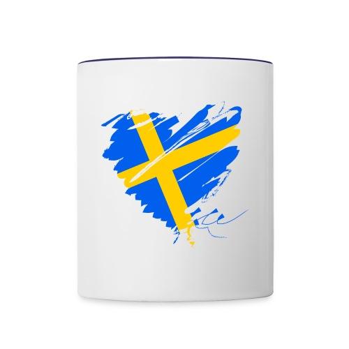 Schweden Skandinavien Europa Fahne Grunge Herz - Contrasting Mug