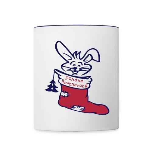 Nikolausstiefel mit Hase - Tasse zweifarbig