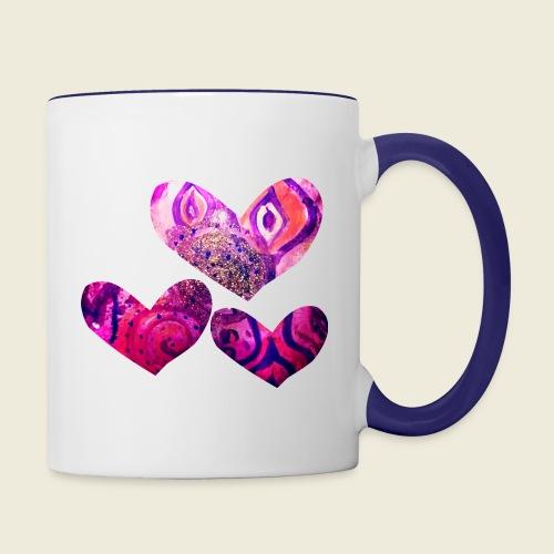 Traumhafte Herzen in pink - Tasse zweifarbig