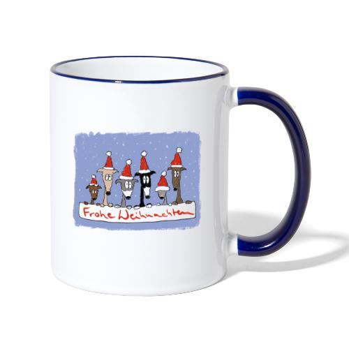 Weihnachten mit Windhunden - Tasse zweifarbig