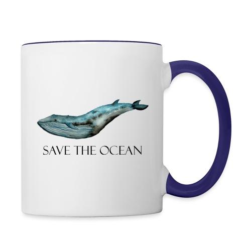 SAVE THE OCEAN ręcznie malowany wieloryb - Kubek dwukolorowy