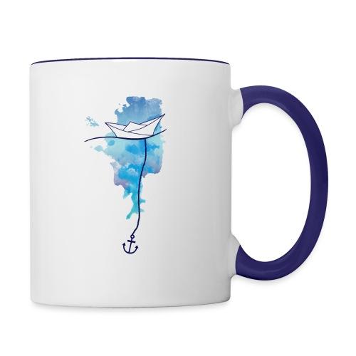 Papierschiff - Tasse zweifarbig