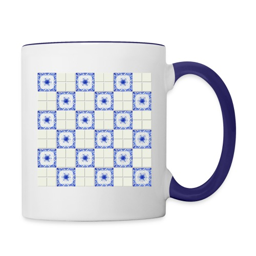 DutchieBlue1-Tile Pattern - Mok tweekleurig
