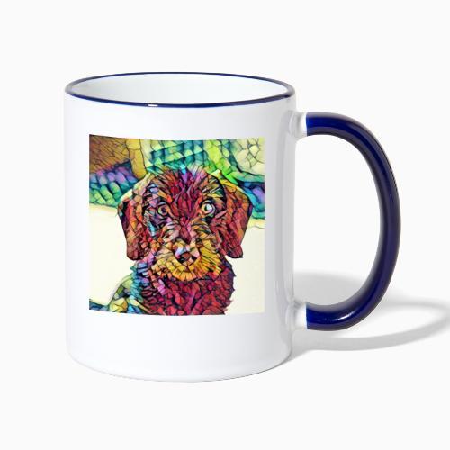 Rauhaardackel Welpe Kunst - Tasse zweifarbig