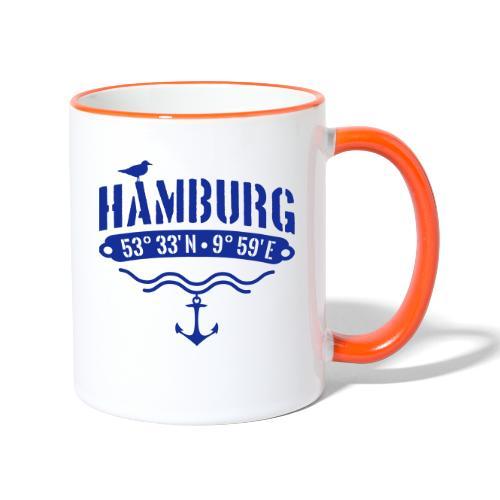 Hamburg Koordinaten Anker Möwe Längengrad - Tasse zweifarbig