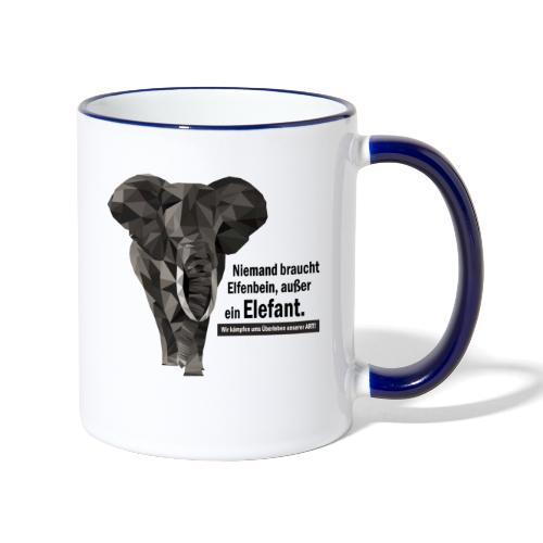 Niemand braucht Elfenbein, außer ein Elefant! - Tasse zweifarbig