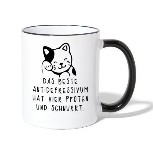 Katzen sind das beste Antidepressivum - Tasse zweifarbig