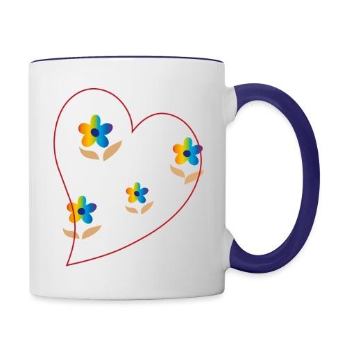 Blumen mit Herz in Regenbogenfarben - Tasse zweifarbig