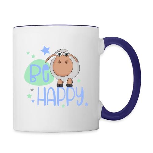 Be happy Schaf - Glückliches Schaf - Glücksschaf - Tasse zweifarbig