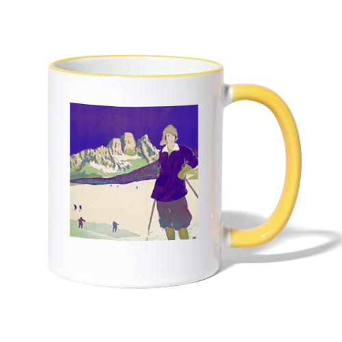 Ski trip vintage poster - Contrasting Mug