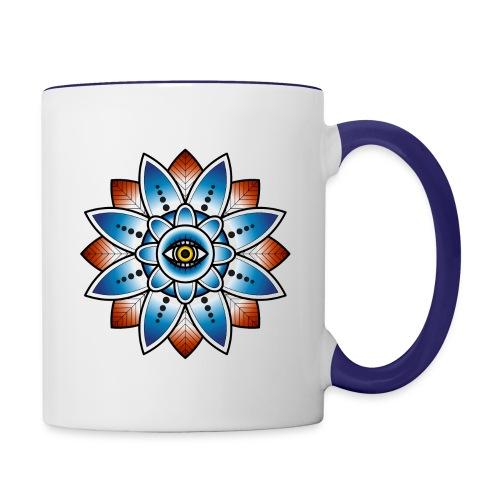 Psychedelisches Mandala mit Auge - Tasse zweifarbig