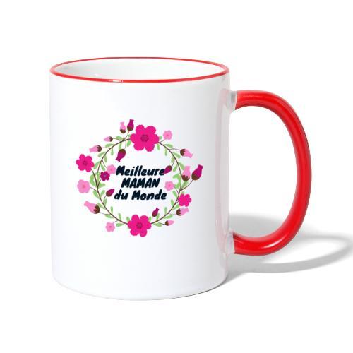Meilleure maman du monde, fête des mères, fleurs - Mug contrasté