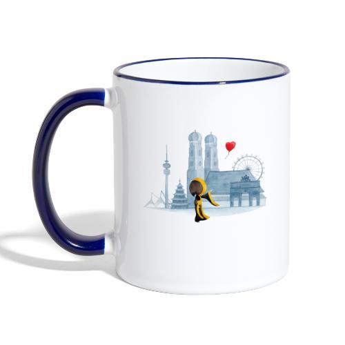 Skyline München mit Münchner Kindl und Herz - Tasse zweifarbig