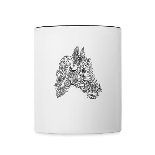 Blumenpferd transp png - Tasse zweifarbig