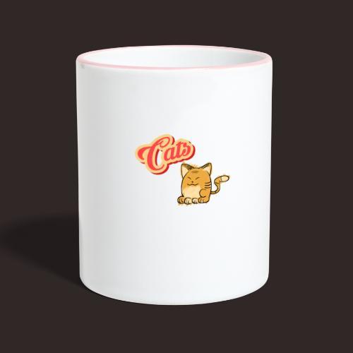 Katze | Katzen süß Schriftzug - Tasse zweifarbig