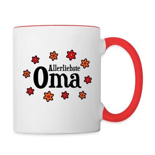 Allerliebste Oma Blumen Geschenk - Tasse zweifarbig