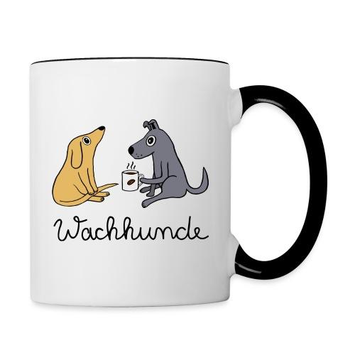Wachhunde - Nur wach mit Kaffee - Tasse zweifarbig