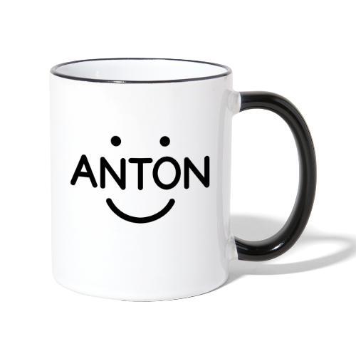 ANTON Smile-Logo schwarz auf weiß - Tasse zweifarbig