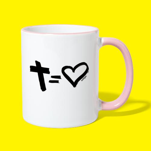Cross = Heart BLACK - Contrasting Mug